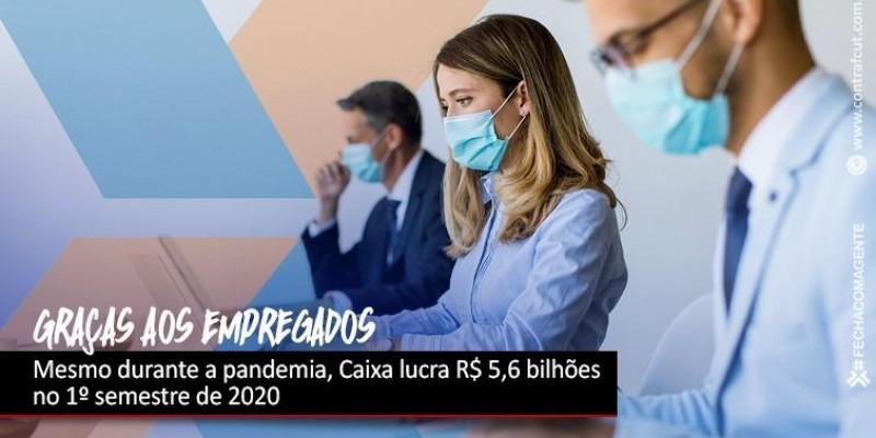 Caixa lucra R$ 5,6 bilhões no 1º semestre de 2020