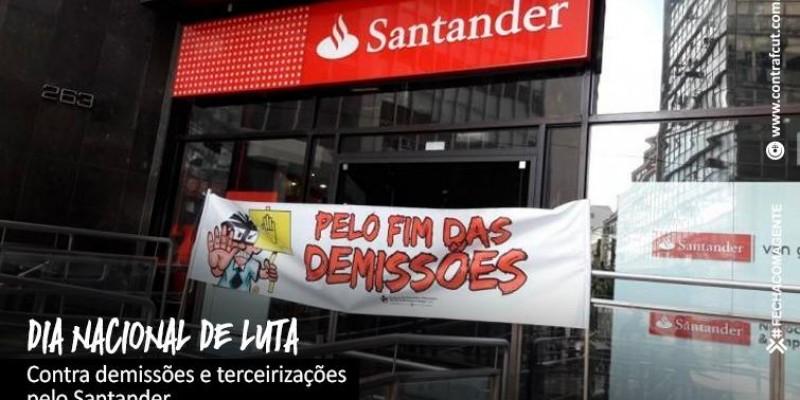 Bancários protestam contra demissões no Santander