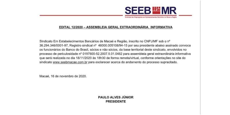 EDITAL 12/2020 – ASSEMBLEIA GERAL EXTRAORDINÁRIA INFORMATIVA - 18/11/2020