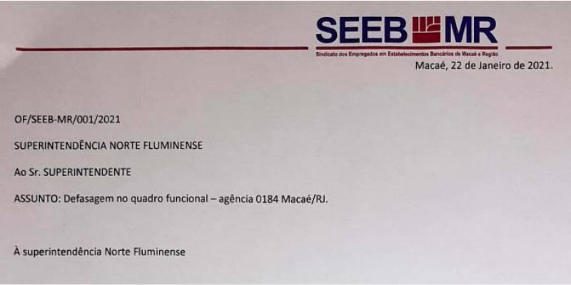 Sindicato oficia a CEF para buscar solução para a agência 0184 da Caixa