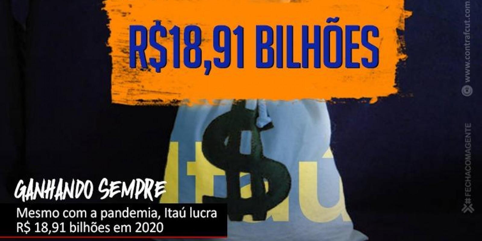 Mesmo em meio a pandemia, Itaú lucra R$ 18,91 bilhões em 2020