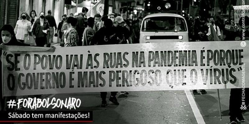 Sábado tem manifestações 'Fora Bolsonaro!'