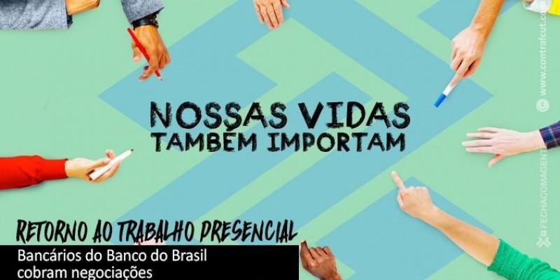 Bancários protestam contra retorno presencial no Banco do Brasil