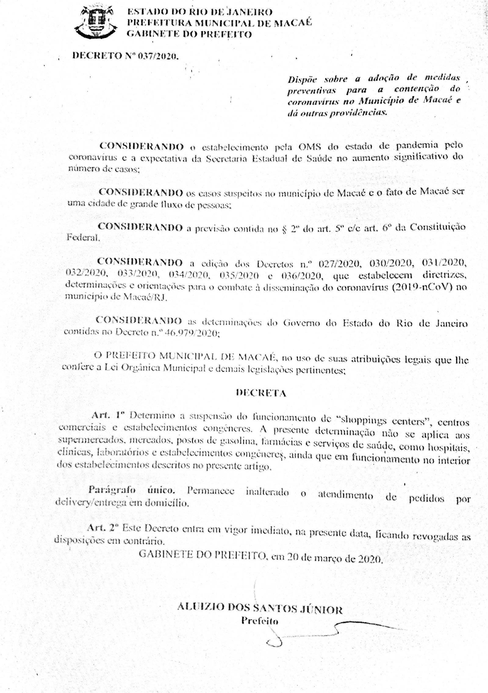 Decreto 037/2020