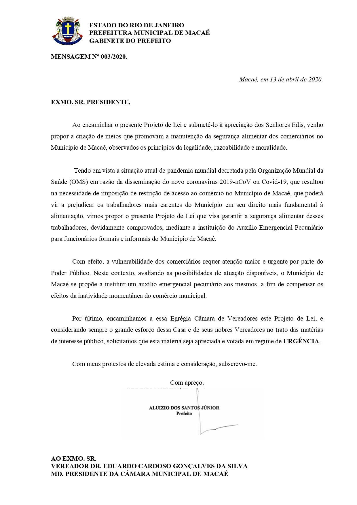 Projeto de lei assinado nesta segunda (13) propõe criação de auxílio financeiro de R$ 800