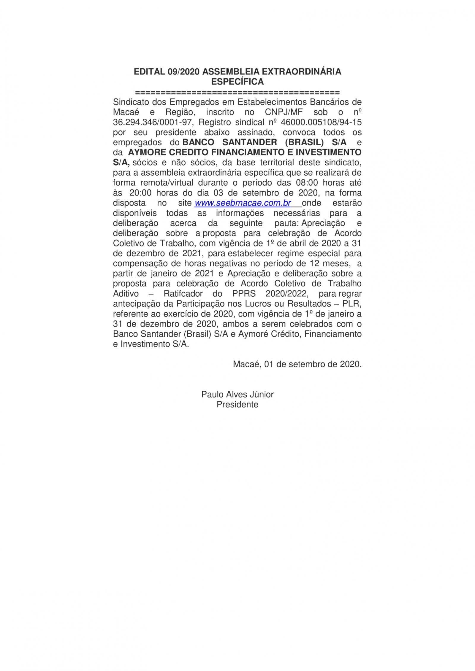 EDITAL 09/2020 ASSEMBLEIA EXTRAORDINÁRIA ESPECÍFICA