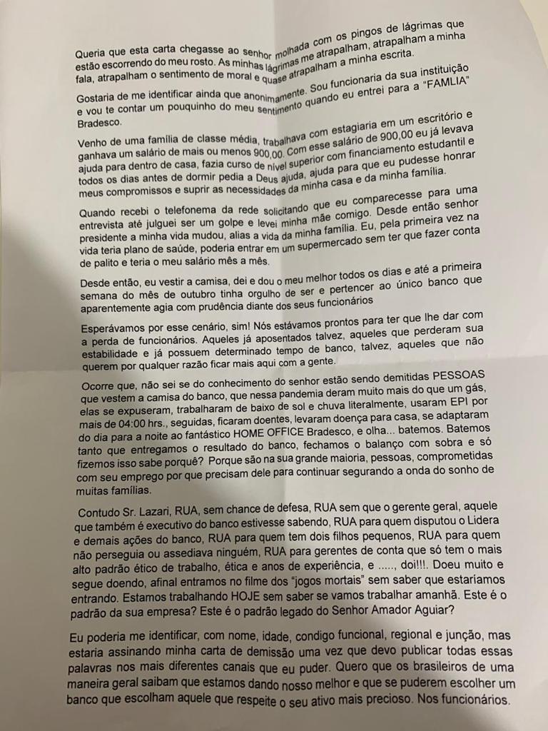 Nota de repúdio ao Bradesco e apoio ao funcionário que desabafou em carta anônima